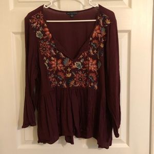 AEO Maroon Relaxed-fit Blouse